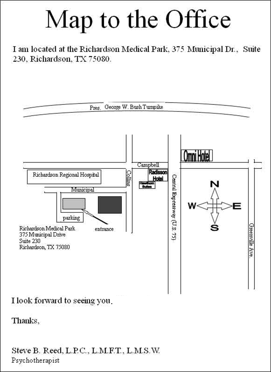 Close-in Map to my office at 375 Municipal Drive, Suite 230, Richardson TX 75080