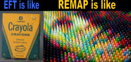 EFT is like an 8 crayon box REMAP is like a 361 crayon box